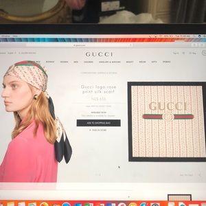 Like new Gucci logo rose silk scarf
